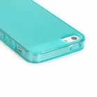 Ultra-thin Protective TPU Back Case w/ Anti-dust Plug for Iphone 5 - Cyan