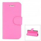 Straw Mat Pattern Protective PU Leather Cover PC Back Case Stand for Iphone 5 - Deep Pink + Black