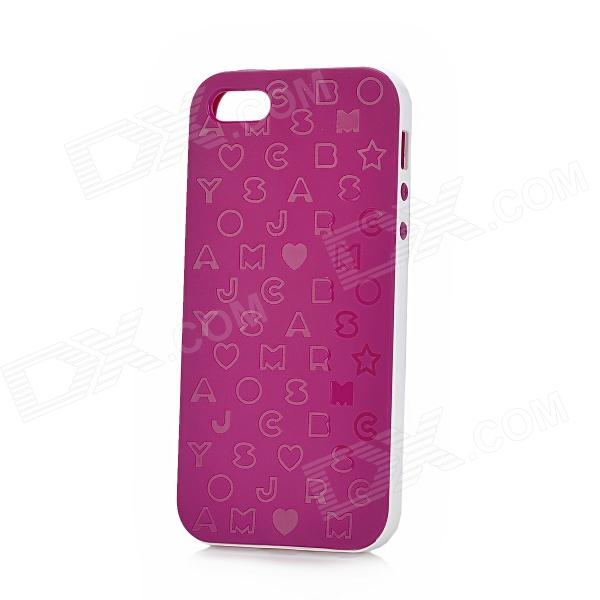 English Letters Pattern Protective Silicone + Plastic Case for Iphone 5 - Deep Purple deep purple deep purple stormbringer 35th anniversary edition cd dvd