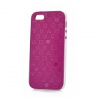 English Letters Pattern Protective Silicone + Plastic Case for Iphone 5 - Deep Purple