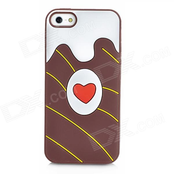 Heart Pattern Protective Silicone Back Case for Iphone 5 - Brown defender warhead g 500 brown black 2 5m 64150