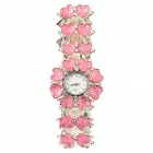 Double Row Heart Pattern Titanium Alloy Band Quartz Analog Women's Wrist Watch - Pink + Silver