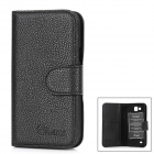 Alis Protective PU Flip-open Case w/ Card Slots for Samsung 9260 - Black