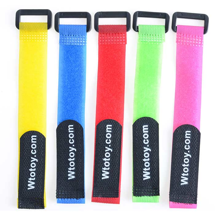 Velcro Battery Strap Ties for R/C Helicopter - Deep Pink + Blue + Green + Yellow + Red ( 5 PCS)