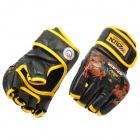 WOLONG Fighting / Boxing PU Half-finger Gloves - Black(Pair)
