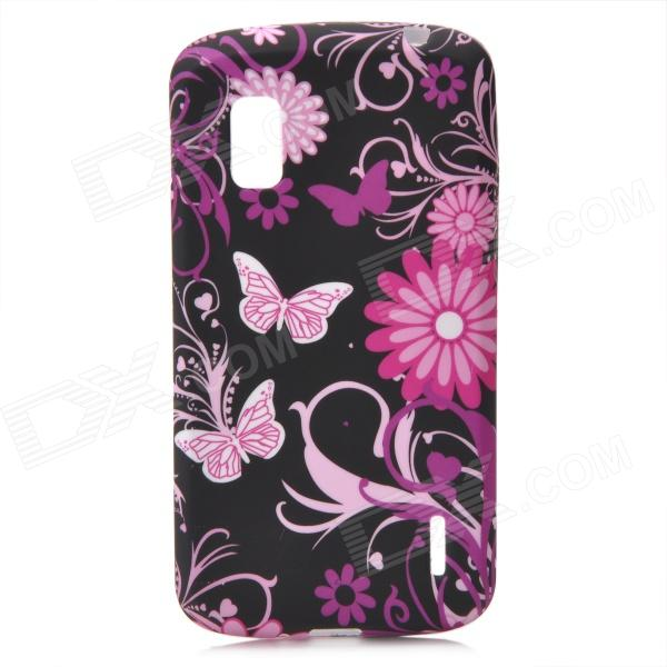Protective Butterfly Flowers Pattern Silicone Case for LG E960 Nexus 4 - Black + Purple + Pink protective silicone back case for lg nexus 4 e960 purple