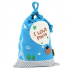 Cute Portable Cotton Gadgets Storage Bag - Blue + White
