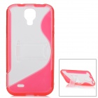 Protective S Style Back Case w/ Stand for Samsung Galaxy S4 i9500 - Red + Transparent