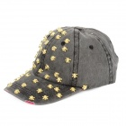 Skull Shape Fashionable Cotton + Polyester Cap Hat w/ Buckle for Woman - Grey Black + Golden