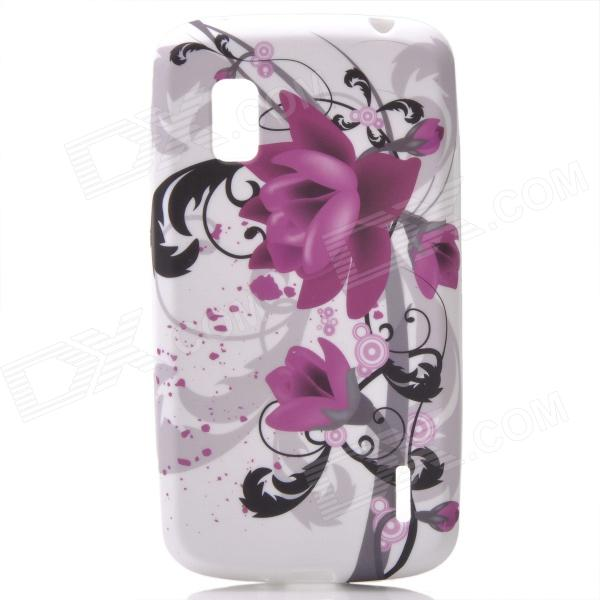 Flower Patterns Protective Silicone Back Case for LG E960 Nexus 4 - Black + Purple + White protective silicone back case for lg nexus 4 e960 purple