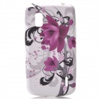 Flower Patterns Protective Silicone Back Case for LG E960 Nexus 4 - Black + Purple + White