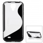 Protective S Style Back Case w/ Stand for Samsung Galaxy S4 i9500 - Black + Transparent