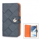 Rhombus Pattern Protective Leather + Plastic Case w/ Strap for Samsung N7100 - Black