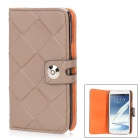 Rhombus Pattern Protective Leather + Plastic Case w/ Strap for Samsung N7100 - Brown