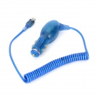 Micro USB Car Cigarette Charger w/ Spring Cable for HTC / Samsung - Blue