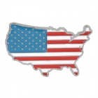 3D Flag of United States Style Alloy Car Sticker w/ Self-Adhesive Tape - Silver + Blue + White + Red