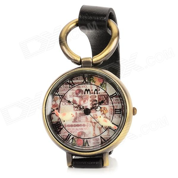 Resin Glass Dial w/ Two Birds Zinc Alloy Casing PU Band Quartz Analog Wrist Watch - Black + Bronze