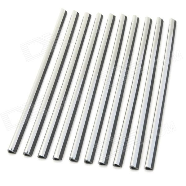 AD-0834 Car Air Conditioner Vent Aluminum DIY Sticker Strips - Silver (10 PCS) free shipping good price new type hot selling 1000mmx16mmx6mm aluminum profile with cover and end caps for led strips 1m pcs