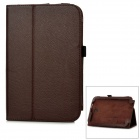 Lychee Pattern Protective PU Leather Case for Samsung N5100 - Dark Brown