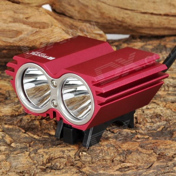 RUSTU DR-200 870lm 4-Mode White Bicycle Light w/ 2 x Cree XM-L T6 - Red (4 x 18650) cree xm l t6 bicycle light 6000lumens bike light 7modes torch zoomable led flashlight 18650 battery charger bicycle clip