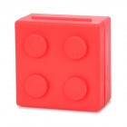 Portable Mini Building Block Style 4-Compartment Pill Medicine Organizer Box - Red
