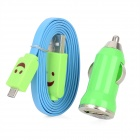 XL-3302 Car Charger + USB to Micro USB Male w/ Smiley Face Pattern Flat Data Cable - Blue + Green