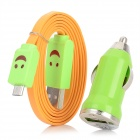 XL-3302 Smile Pattern LED Flashing USB to Micro USB Data Cable w/ Car Charger - Green + Orange
