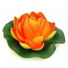 ZEA-HHS01 EVA Artificial Lotus Flower w/ Leaf - Orange + Light Green + Green