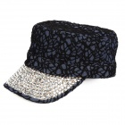 Fashion Leisure Jean + Sequin Bead Cap Hat - Black + Silver + Blue