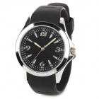 YB1321 Men's Glass Dial Rubber Band Quartz Analog Wrist Watch w/ USB Flash Drive - Black + Silver