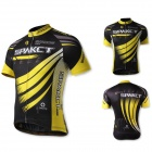 SPAKCT S13C01 Polyester Fiber Short Sleeves Cycling Riding Jersey - Yellow + Black (Size-S)
