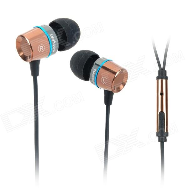 Leadsound EP1202 In-Ear Earphone w/ Microphone - Coffee + Black leadsound ep1202 in ear earphone w microphone coffee black