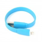 USB Male to 8-Pin Lightning Male Data / Charging Flat Cable for iPhone 5 / iPad 4 - Blue (23cm)