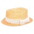 Butterfly Tie Shape Fashionable Straw Braid Cap Hat for Woman - Yellow