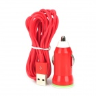 Car Charging Adapter Charger + USB to 8-Pin Lightning Cable Set for iPhone 5 / iPad 4 - Red
