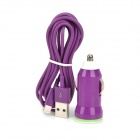 Car Charger + USB Male to 8-Pin Lightning Cable for iPhone 5 / iPad 4 - Purple