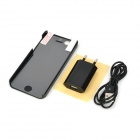 4-in-1 EU Plug Charger + Lightning Cable + Back Case + Glossy Screen Guard for iPhone 5 - Black
