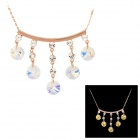 Copper Aluminum Alloy Chain w/ Five 18K Rhinestones Pendant Necklace for Women - Golden