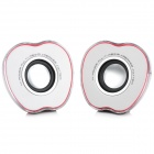 AS-L-R Cute Apple Shape Multi-Media 1-LED 7-Color Light Rechargeable USB Speaker w/ 3.5mm Jack - Red