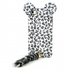 Cute Tiger Style TPU + Fleece Back Case w/ Ear + Tail for Iphone 5 - Black + White