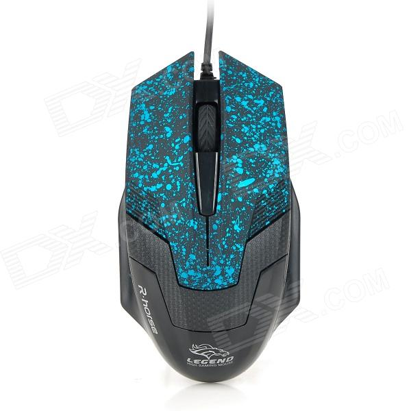 RH2100 3200dpi USB 2.0 Wired Gaming Optical Mouse - Black + Blue