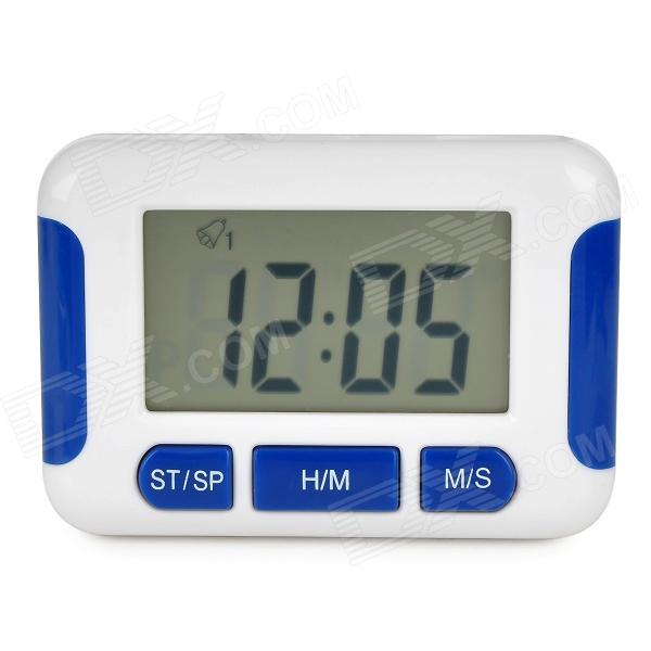 "Multi-Functional 2.2"" LCD Timer Alarm Clock - White + Blue (1 x AAA)"