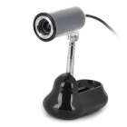 Retractable Rotatable USB 2.0 12MP PC Camera Webcam - Black
