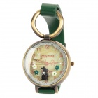 Resin Glass Dial w/ Rabbit Zinc Alloy Casing PU Band Quartz Analog Wrist Watch - Green + Bronze
