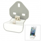 USB to Apple Lightning 8-Pin Wall Charger Dock w/ UK Plug Holder for iPhone 5 - White