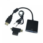 Micro HDMI / Mini HDMI / HDMI to VGA + 3.5MM Audio / Video Adapter - Black
