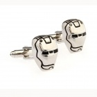 Robot Mask Shaped Men's Cufflinks - Silver (Pair)