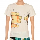 Creative Big Hand Printed 3D Vision Cotton T Shirt for Men - White (Size L)