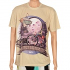 LaoNongZhuang Cartoon Pattern 3D Vision Cotton T Shirt for Men - Beige + Purple (Size XXXL)