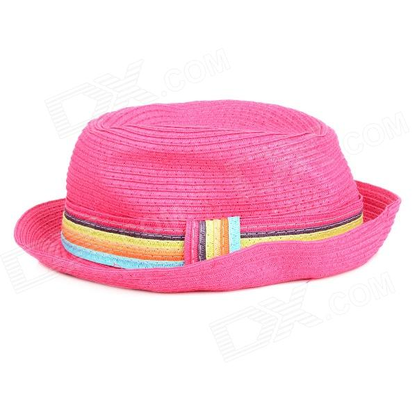 Fashion Straw Hat Sunbonnet for Women - Pink stetson men s breakers premium shantung straw hat